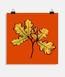 hojas de roble otoño arte