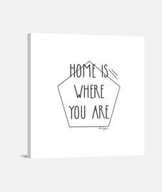 Home is where you are. Lienzo Cuadrado 1:1 - (40 x 40 cm)