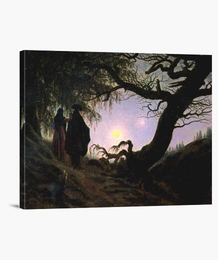 Tableau homme et femme contemplant la lune