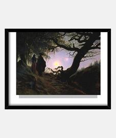homme et femme contemplant la lune