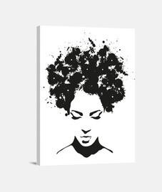 illustration femme b / n boîte