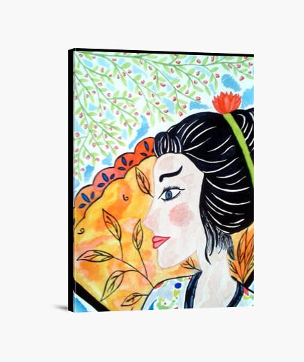 Impression sur toile Portrait Femme en Fleurs cadre