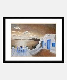 isla griega cuadro
