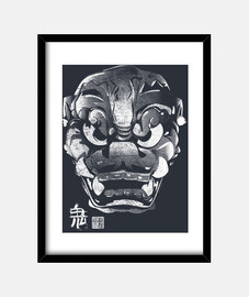 japanese kanji demon mask white