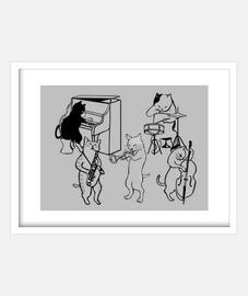 (JAZZ CATS) Cuadro con marco blanco horizontal 4:3 (20 x 15 cm)