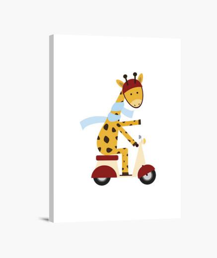 Lienzo jirafa en la motocicleta