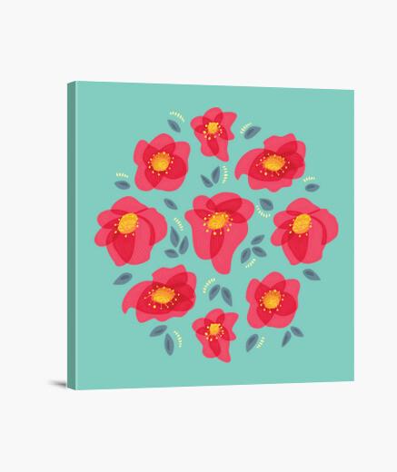 Tableau jolies fleurs aux pétales roses brillants