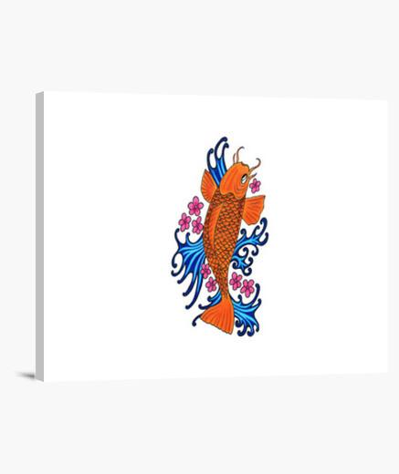 Lienzo koi con agua y flores