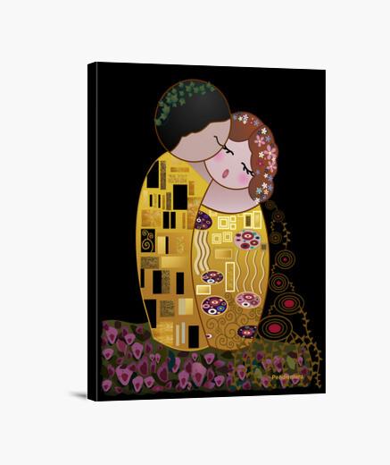 Lienzo Kokeshi El Beso estilo Klimt