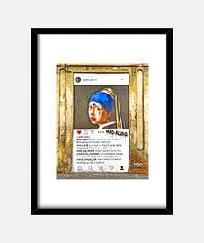 la jeune perle - cadre avec cadre vertical noir 3: 4 (15 x 20 cm)