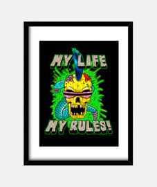 la mia vita, le mie regole! - cornice con cornice nera verticale 3: 4 (15 x 20 cm)