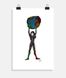la mujer usa el mundo - cartel
