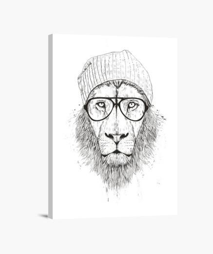 Lienzo león fresco (bw)