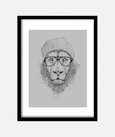 león fresco (bw)