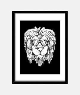 león con gafas de sol rasta jamaica