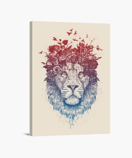 Lienzo león floral iii