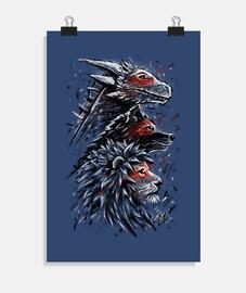 león lobo dragón
