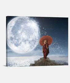 leone sotto la moon - (40 x 30 cm)