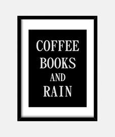 libros de café y lluvia