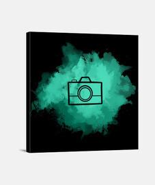 Lienzo - Camera Watercolor Aquamarine (Black)
