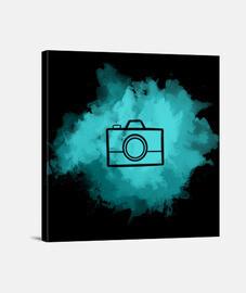 Lienzo - Camera Watercolor Cyan (Black)