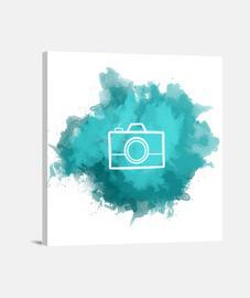 Lienzo - Camera Watercolor Cyan (White)