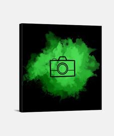 Lienzo - Camera Watercolor Green (Black)