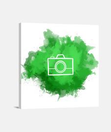 Lienzo - Camera Watercolor Green (White)
