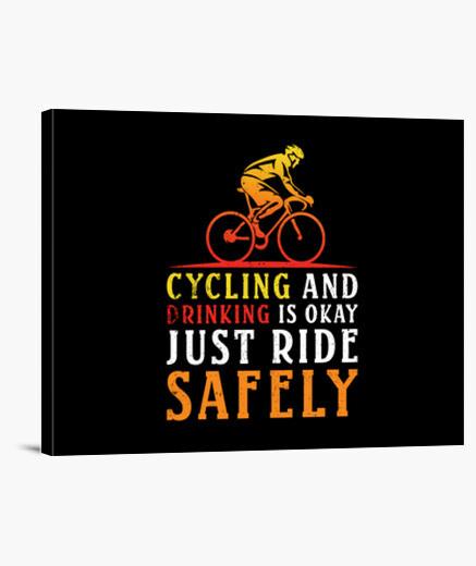 Lienzo andar en bicicleta y beber está bien