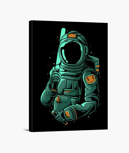 Lienzo Astronauta con sable láser