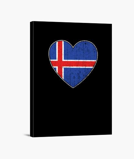 Lienzo bandera de islandia amor corazon