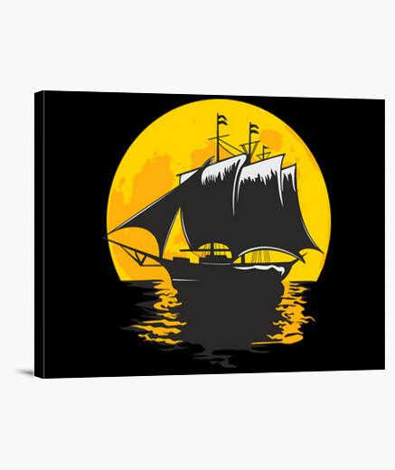 Lienzo barco de vela bajo la luna
