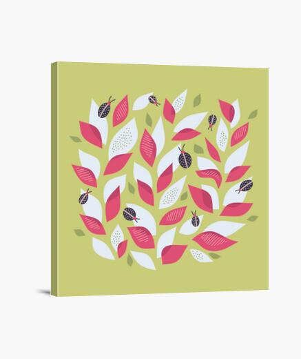 Lienzo bastante planta abstracta y mariquitas