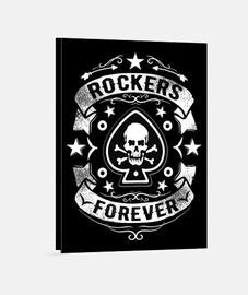 Lienzo Bikers Rock Skull Rockabilly Rockers Calaveras Rock N Roll Moteros