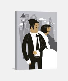Lienzo Casados Casada Casado Retro Boda
