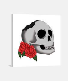 """Lienzo Cuadrado """"Skull and Roses"""""""