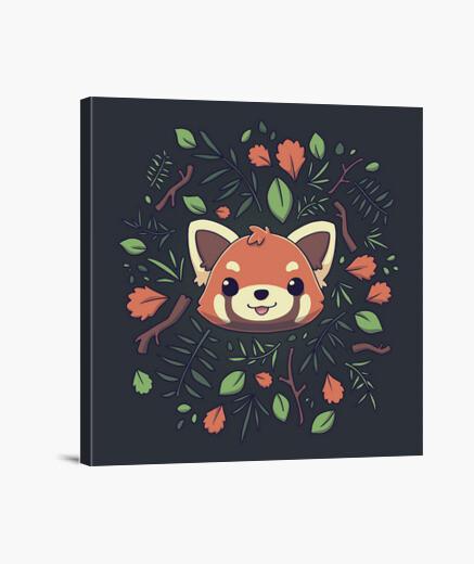 Lienzo Cute Panda Rojo Hojas de Otoño