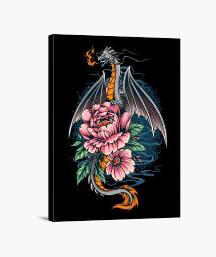 Lienzo Dragon sobre flores - 1724233