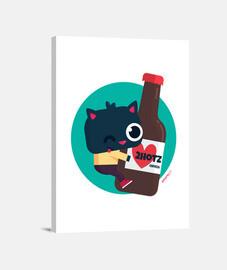 Lienzo Gato con cerveza 2hotz (varios formatos)