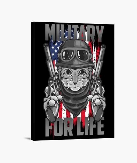 Lienzo gato militar usa - militar de por vida