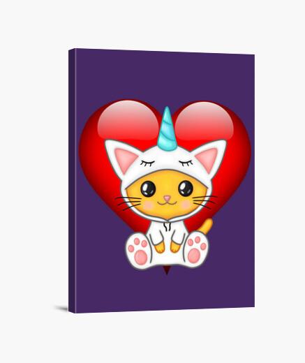 Lienzo Gato unicornio corazon