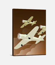 Lienzo Ilustraciones Art Deco Aviones