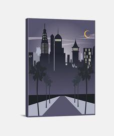 Lienzo Ilustraciones Nueva York Retro Noche