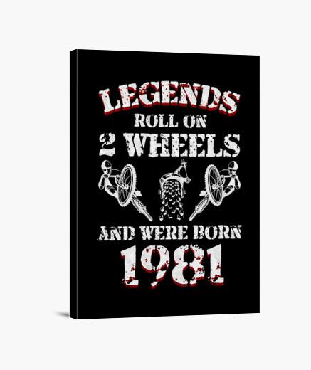 Lienzo leyendas sobre 2 ruedas 1981 nacido...