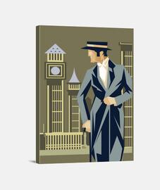 Lienzo Londres Art Deco Retro Reloj
