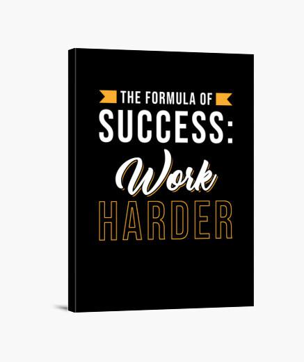 Lienzo motivación diciendo trabajo duro...