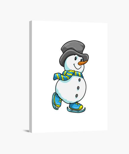 Lienzo muñeco de nieve en patinaje sobre...