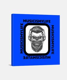 Lienzo Music is my  Life Blue