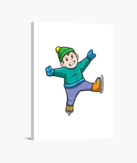 Lienzo niño en patinaje sobre hielo con...