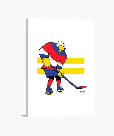 Lienzo oso de hockey sobre hielo de...